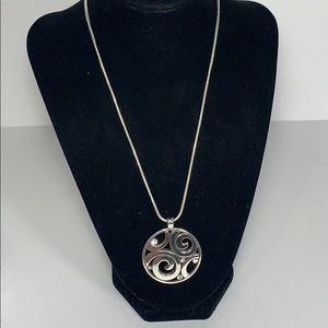 Brighton Silver Necklace w/ Medallion Pendant